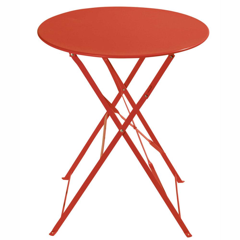 table de jardin pliante en m tal rouge framboise. Black Bedroom Furniture Sets. Home Design Ideas