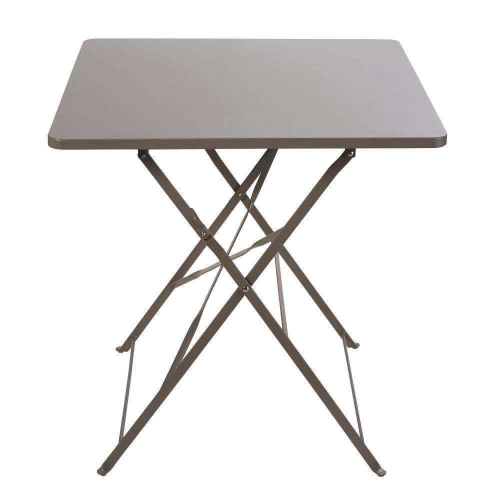 Table de jardin pliante en métal taupe 2 personnes L70 Guinguette ...