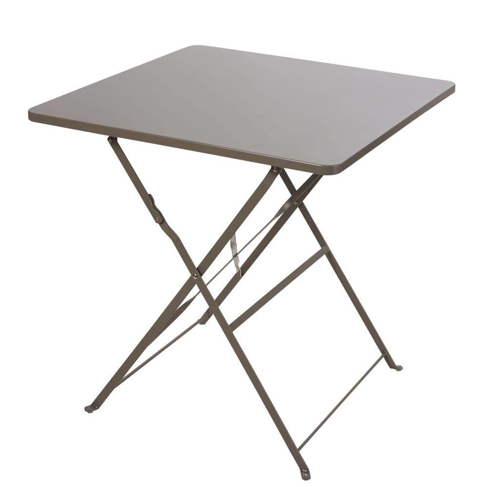 table de jardin pliante en m tal taupe 2 personnes l70. Black Bedroom Furniture Sets. Home Design Ideas