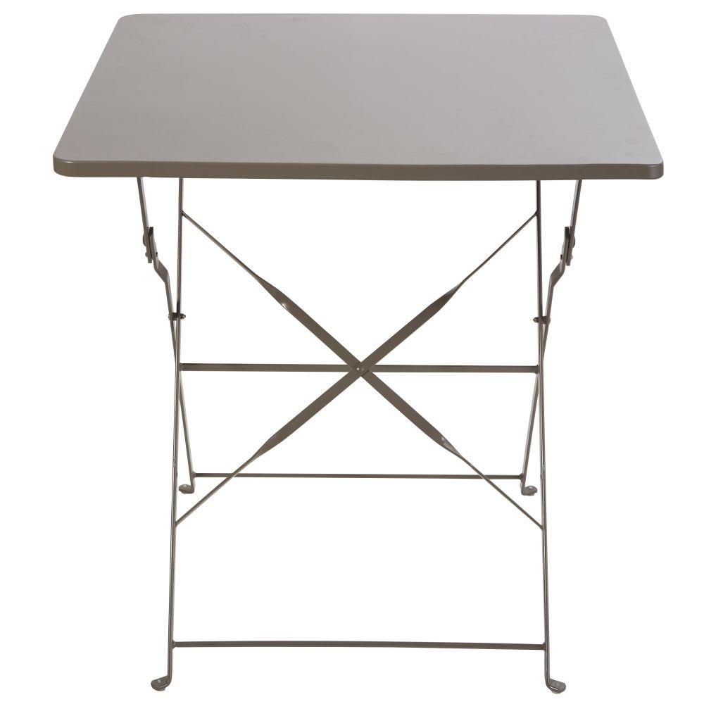 table de jardin pliante en m tal taupe 2 personnes l70 guinguette maisons du monde. Black Bedroom Furniture Sets. Home Design Ideas