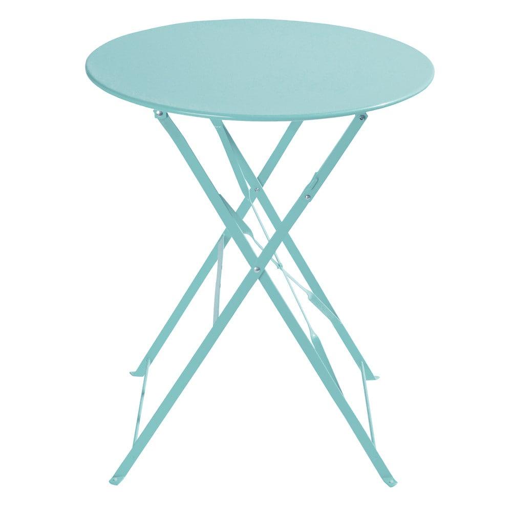 Table de jardin pliante en métal turquoise D58 Guinguette | Maisons ...