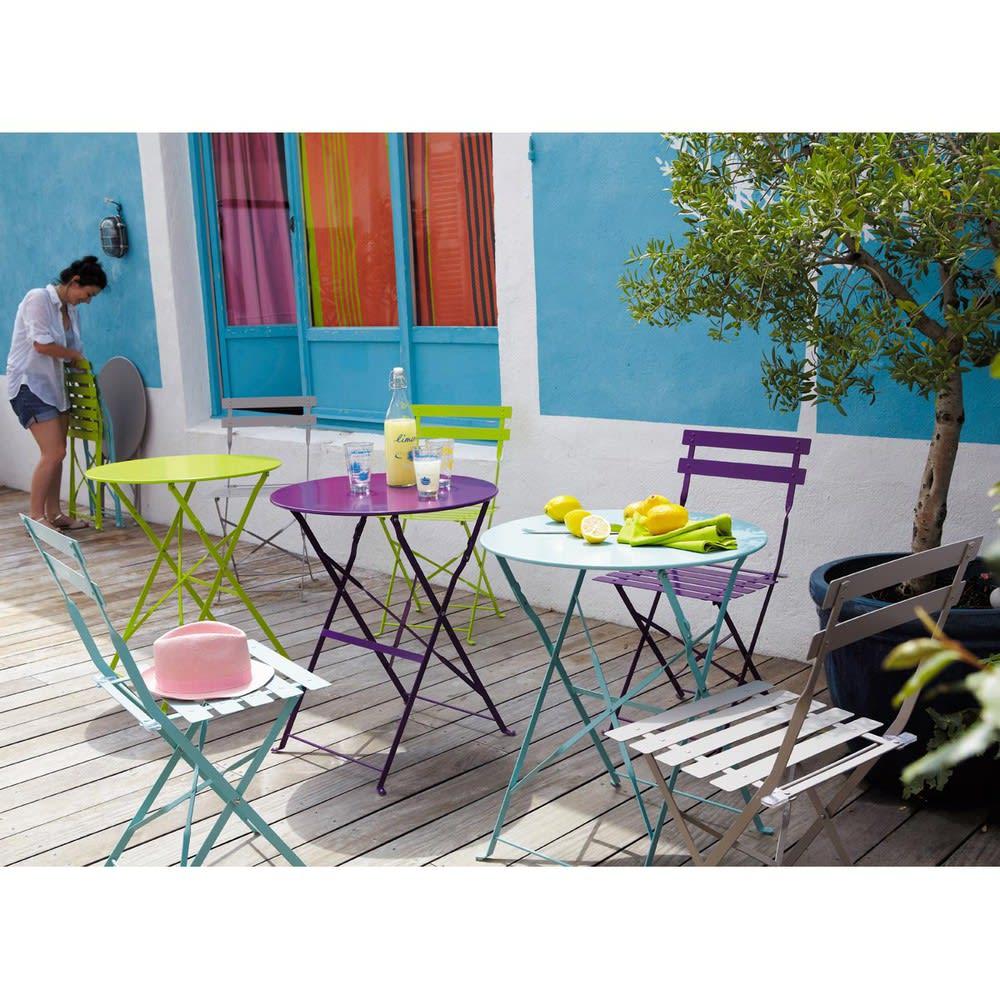table de jardin pliante en m tal turquoise d58 guinguette. Black Bedroom Furniture Sets. Home Design Ideas