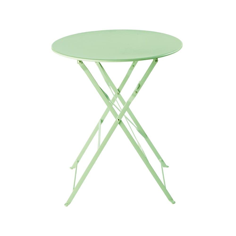 Table de jardin pliante en métal vert d\'eau D58 Guinguette | Maisons ...