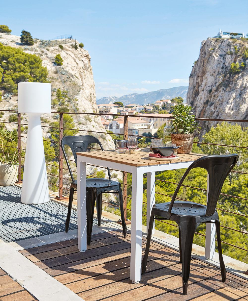 table de jardin professionnelle en teck et m tal blanc l75. Black Bedroom Furniture Sets. Home Design Ideas