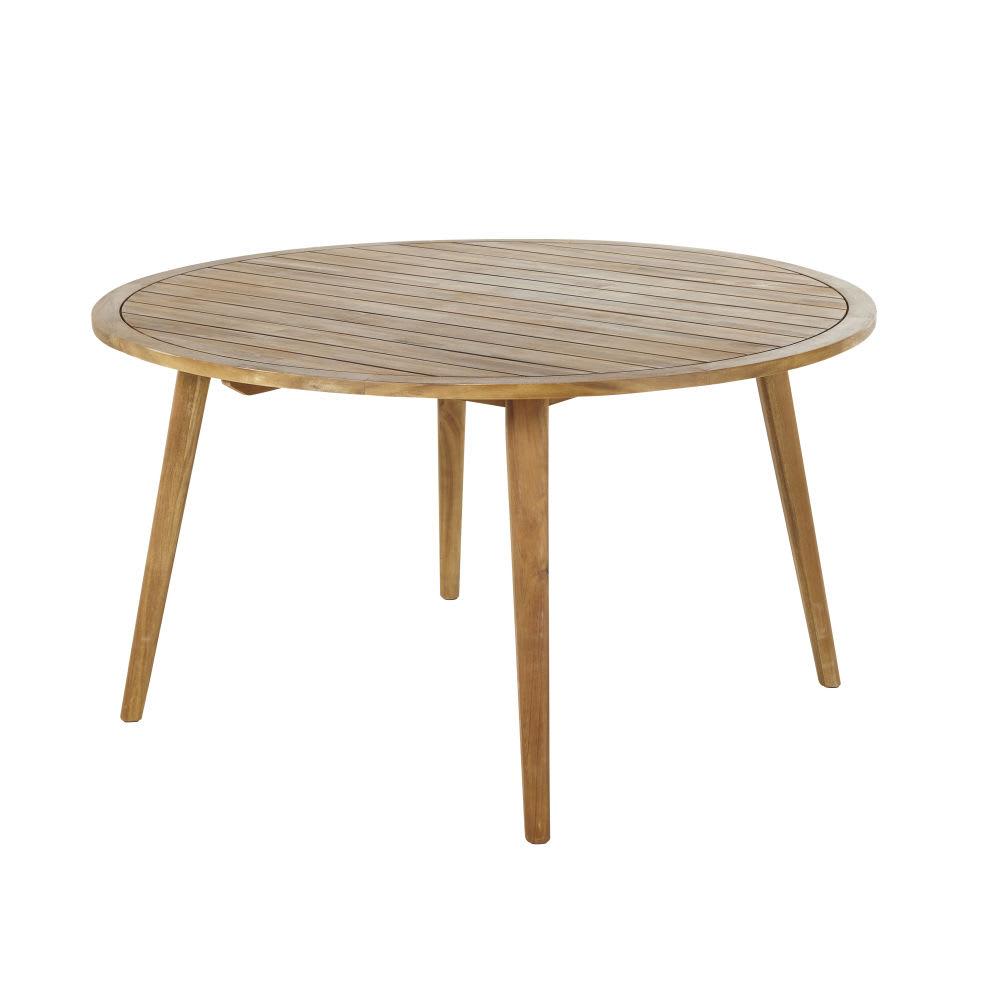 Table de jardin ronde en acacia massif 6 personnes D140 Noumea ...