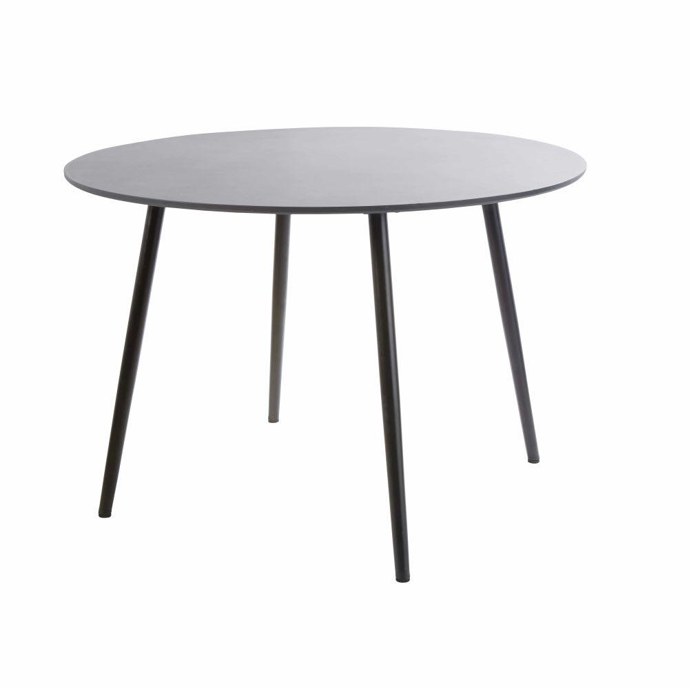 Table de jardin ronde en béton gris anthracite 5 personnes D110 ...