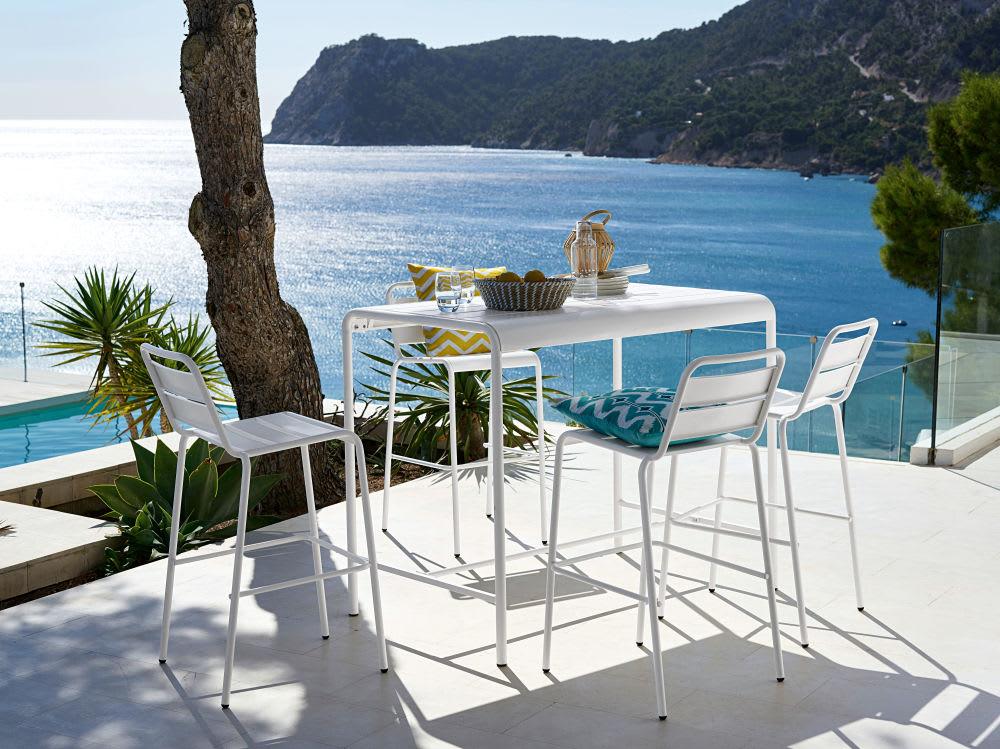 Table haute de jardin en métal blanc 4 personnes L130 Batignolles ...