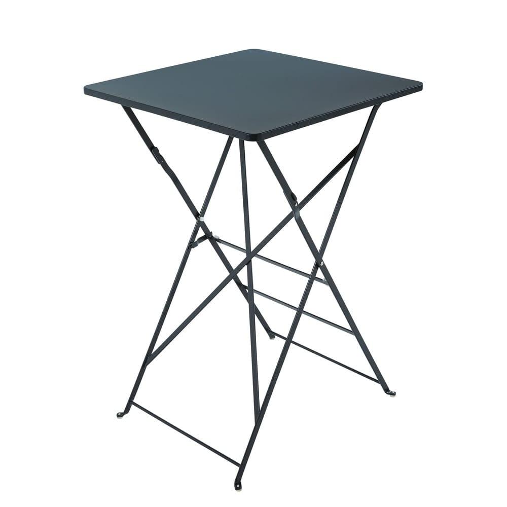 Table haute de jardin pliante en métal gris anthracite 2 personnes ...