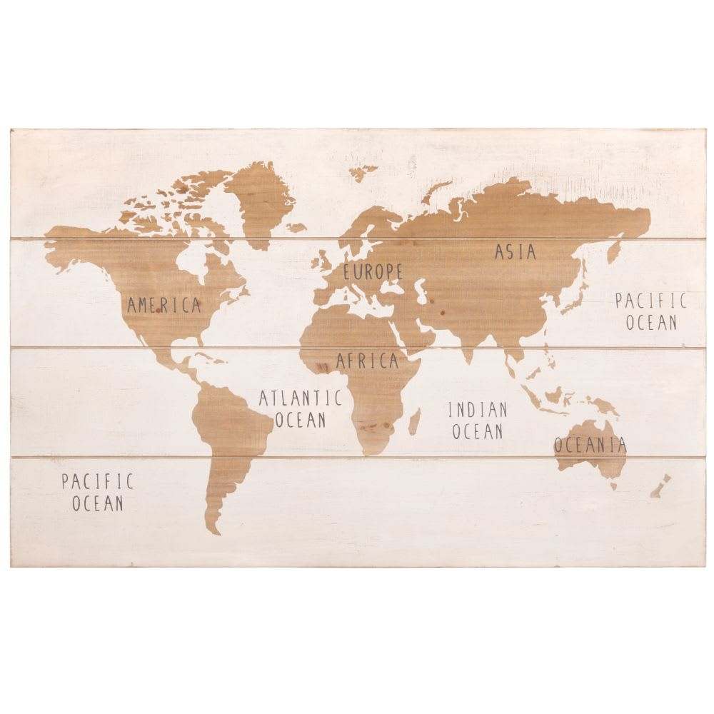 tableau carte du monde blanc et marron 80x51 map world. Black Bedroom Furniture Sets. Home Design Ideas