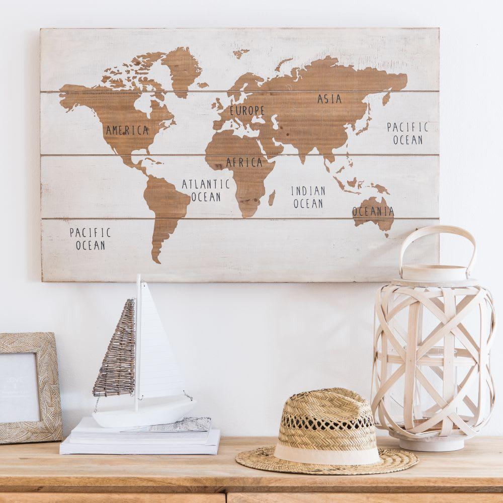 tableau carte du monde blanc et marron 80x51 map world maisons du monde