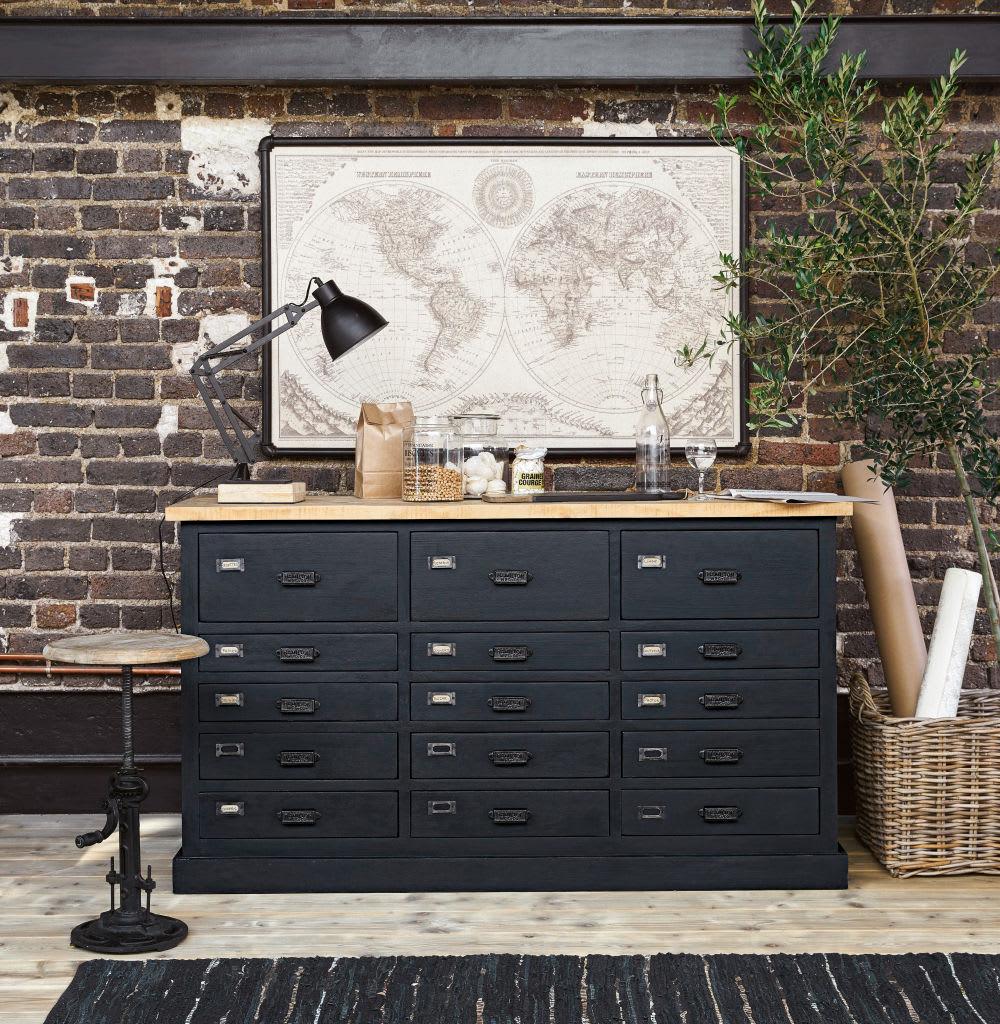 tableau carte du monde en m tal noir 133x87 cody maisons. Black Bedroom Furniture Sets. Home Design Ideas