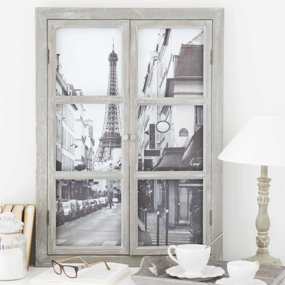 tableau fen tre tour eiffel 57 x 79 cm paris maisons du. Black Bedroom Furniture Sets. Home Design Ideas