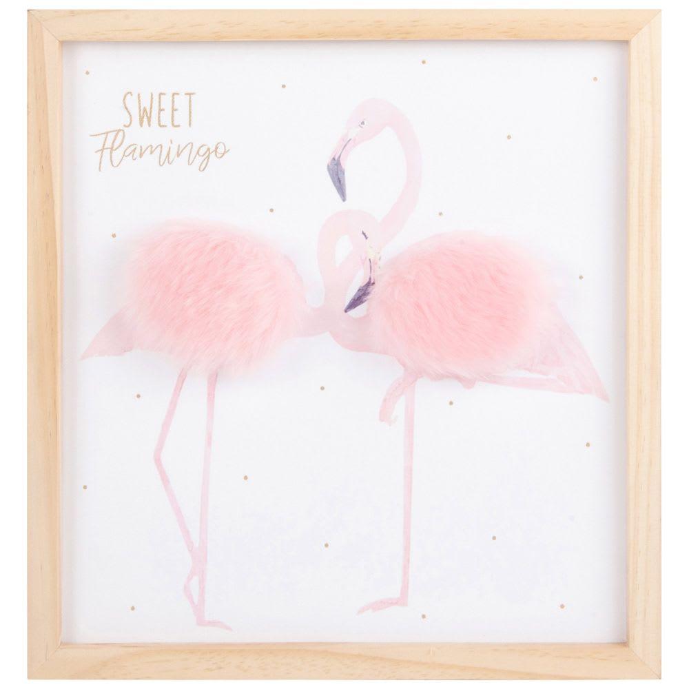 Tableau Flamants Roses En Paulownia 30x32 Sweet Flamingo