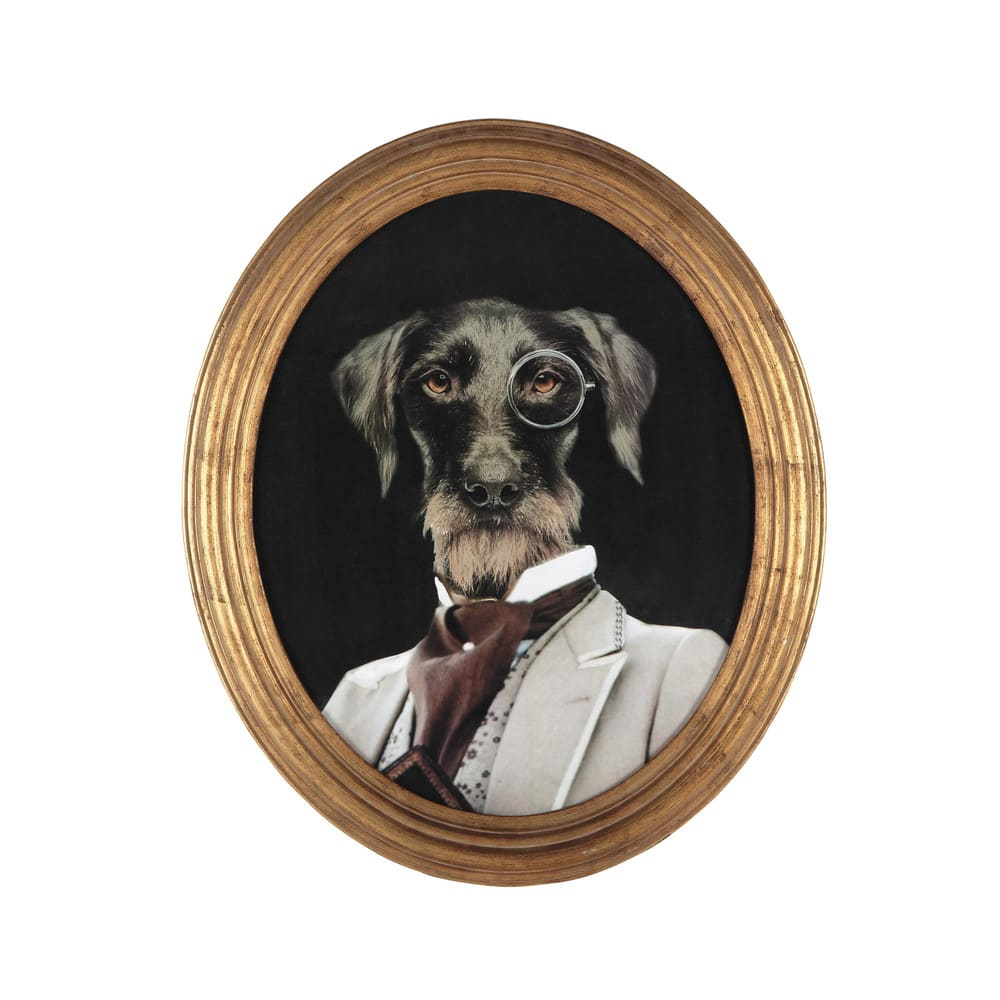 Tableau ovale portrait chien 53x64 oscar maisons du monde Tableau maisons du monde