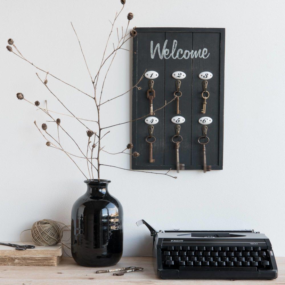 tableau porte cl s en pin et m tal 24x38 welcome maisons. Black Bedroom Furniture Sets. Home Design Ideas