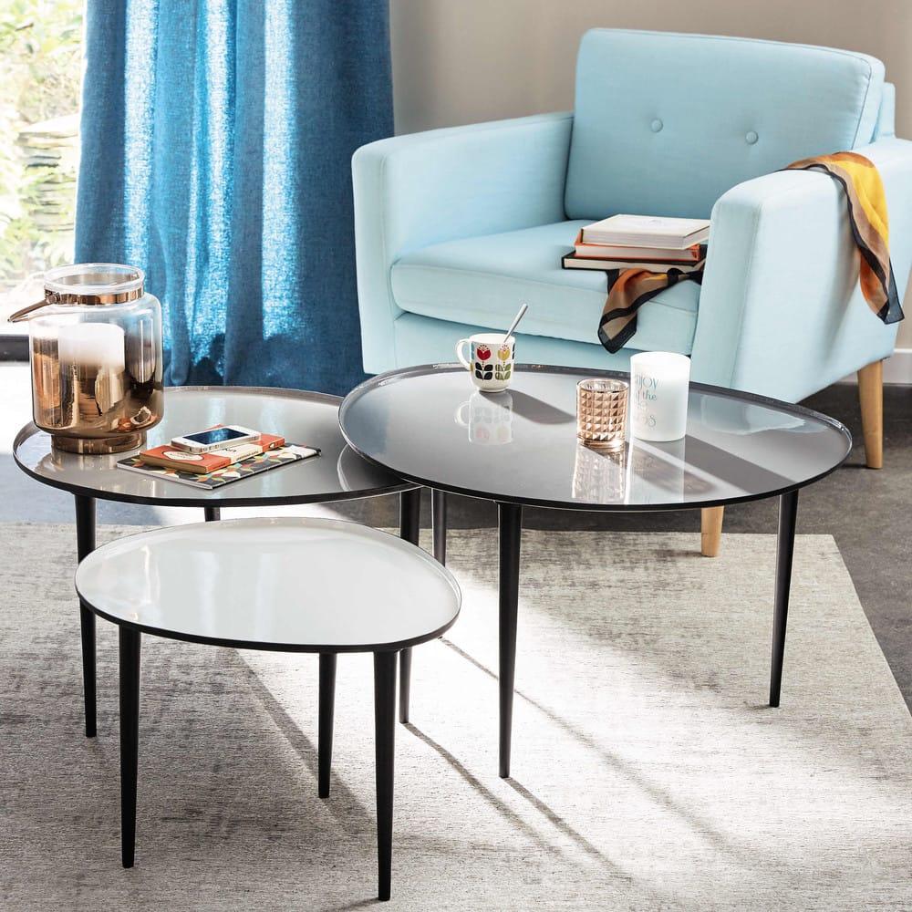 tables gigognes en m tal galet maisons du monde. Black Bedroom Furniture Sets. Home Design Ideas