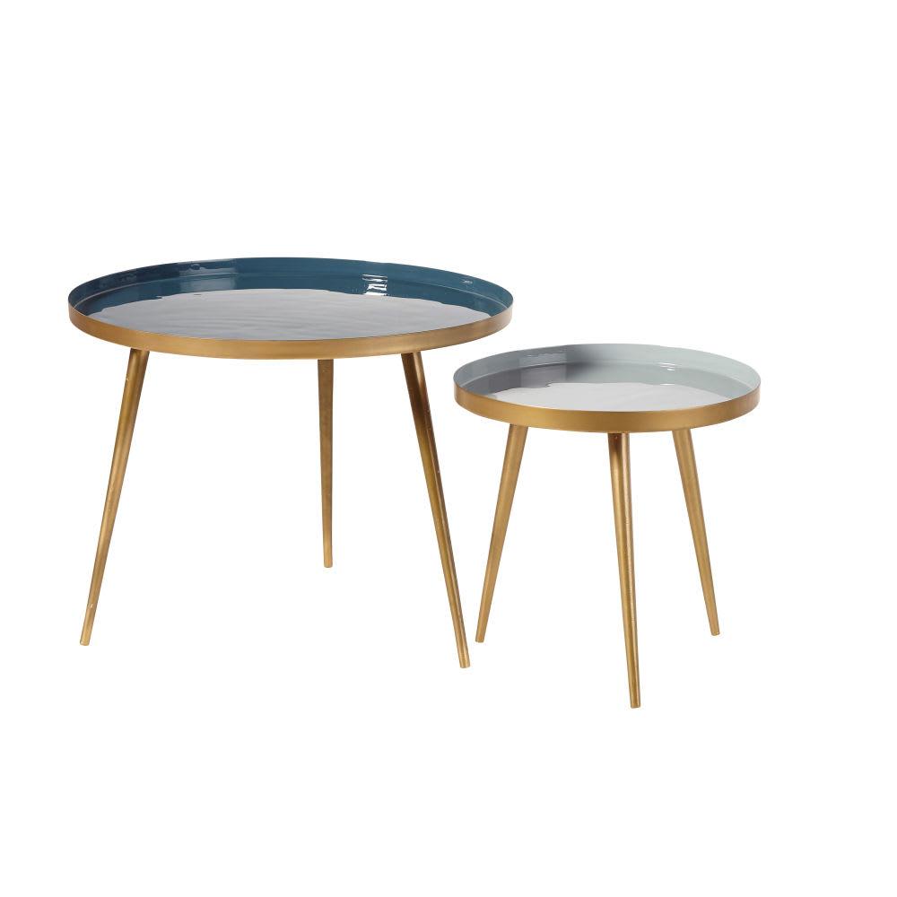 tables gigognes en m tal bleu et dor avril maisons du monde. Black Bedroom Furniture Sets. Home Design Ideas