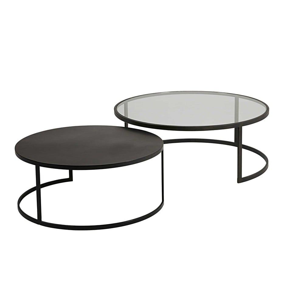 Tables Gigognes En Verre Trempe Et Metal Noir Eclipse Maisons Du Monde