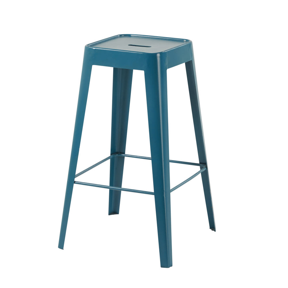 tabouret de bar en m tal bleu p trole tom maisons du monde. Black Bedroom Furniture Sets. Home Design Ideas