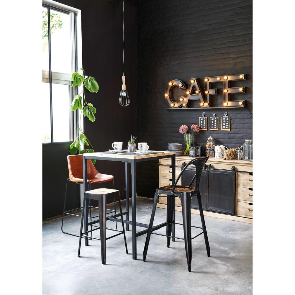 tabouret de bar indus en manguier et m tal manufacture maisons du monde. Black Bedroom Furniture Sets. Home Design Ideas