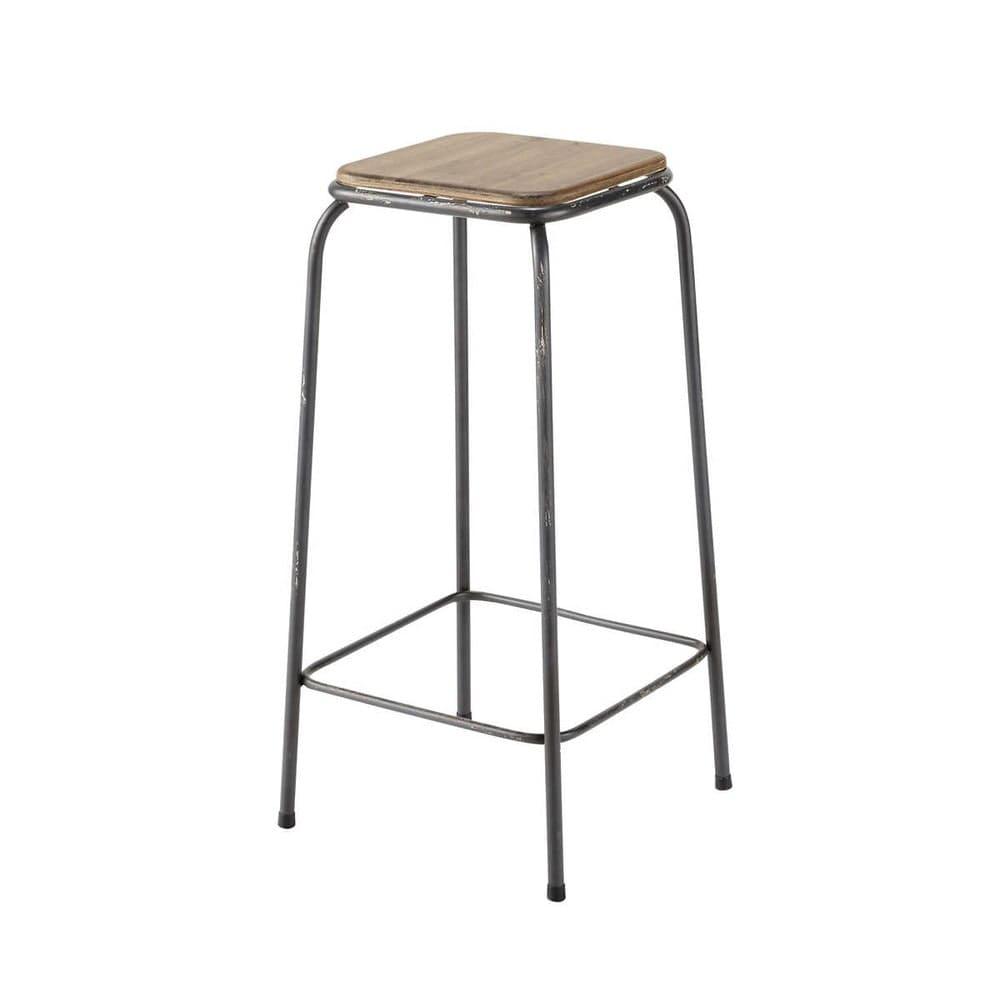 tabouret de bar indus en sapin et m tal kraft maisons du. Black Bedroom Furniture Sets. Home Design Ideas