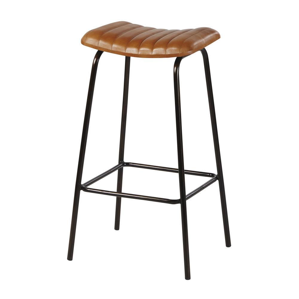 tabouret de bar professionnel en cuir de ch vre marron. Black Bedroom Furniture Sets. Home Design Ideas