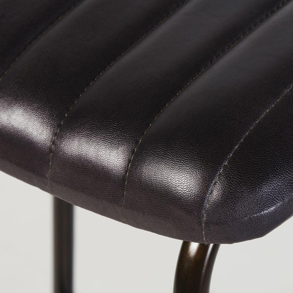 tabouret de bar professionnel en cuir de ch vre noir. Black Bedroom Furniture Sets. Home Design Ideas