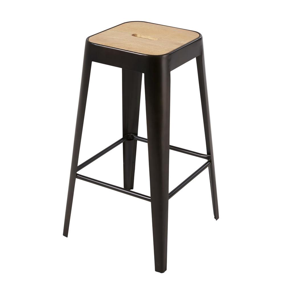 tabouret de bar professionnel en manguier et m tal noir. Black Bedroom Furniture Sets. Home Design Ideas