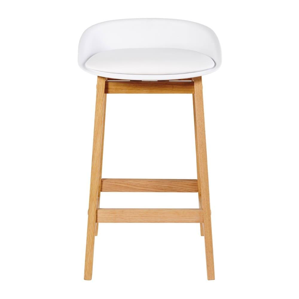 tabouret de bar style scandinave blanc et ch ne massif h73 ice maisons du monde. Black Bedroom Furniture Sets. Home Design Ideas