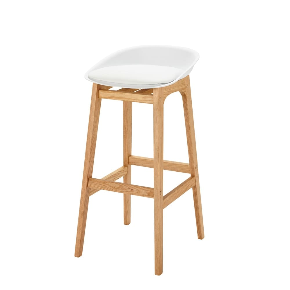 tabouret de bar style scandinave blanc et ch ne massif h88. Black Bedroom Furniture Sets. Home Design Ideas