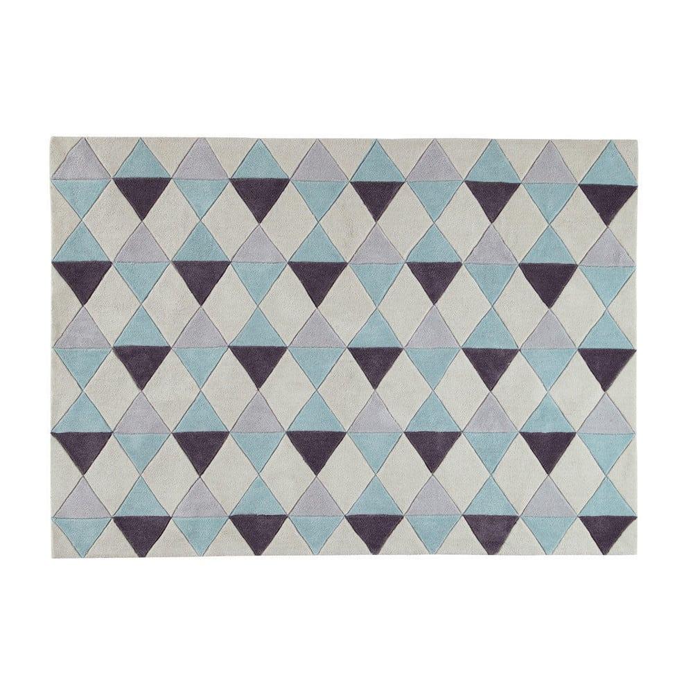 Tapis A Poils Courts Bleu Motifs Graphiques 140x200 Nordic Maisons