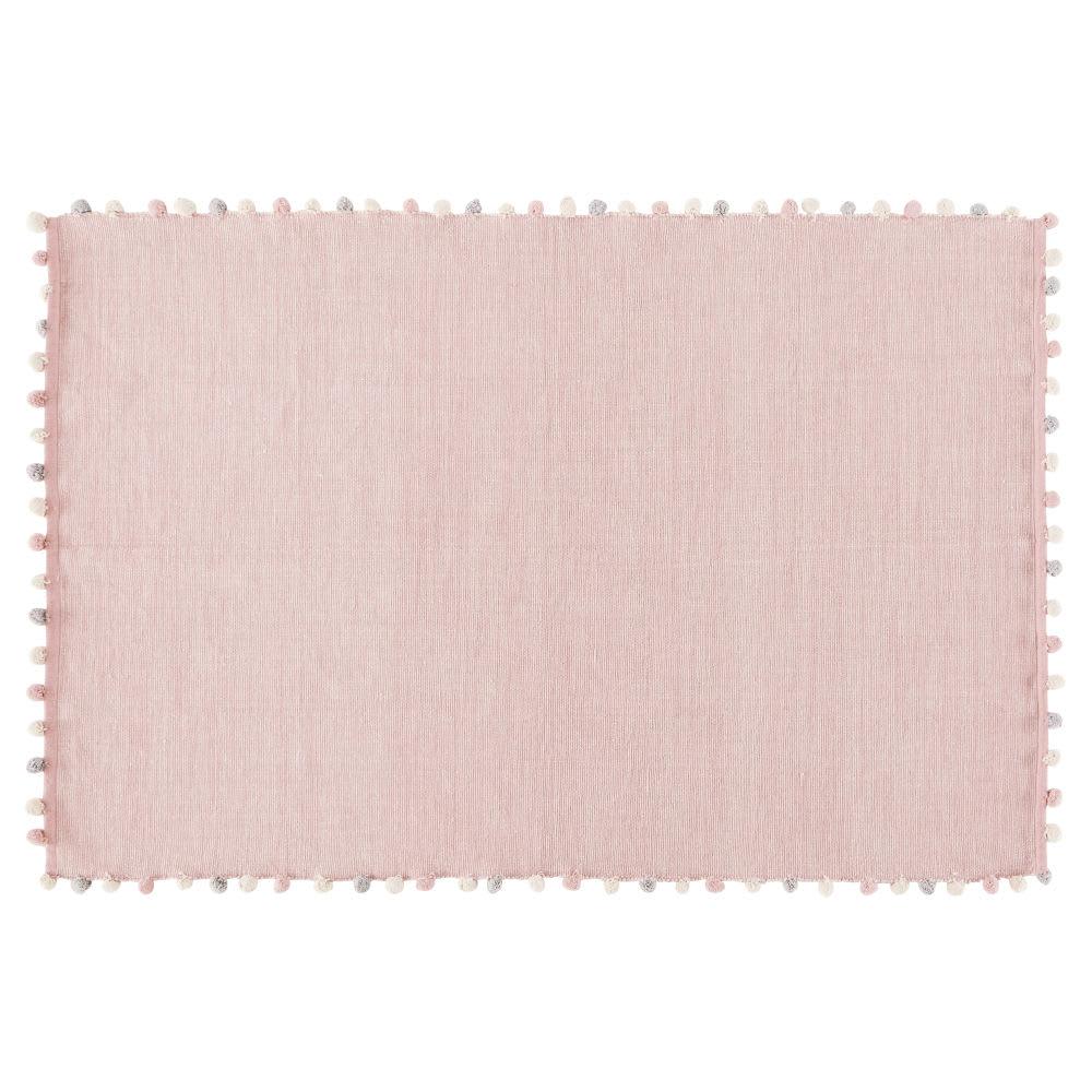 tapis pompons en coton rose 120x180 bucolique maisons du monde. Black Bedroom Furniture Sets. Home Design Ideas