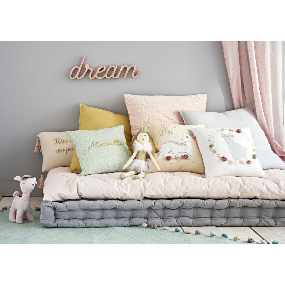tapis pompons en coton vert 80x200 bucolique maisons du monde. Black Bedroom Furniture Sets. Home Design Ideas