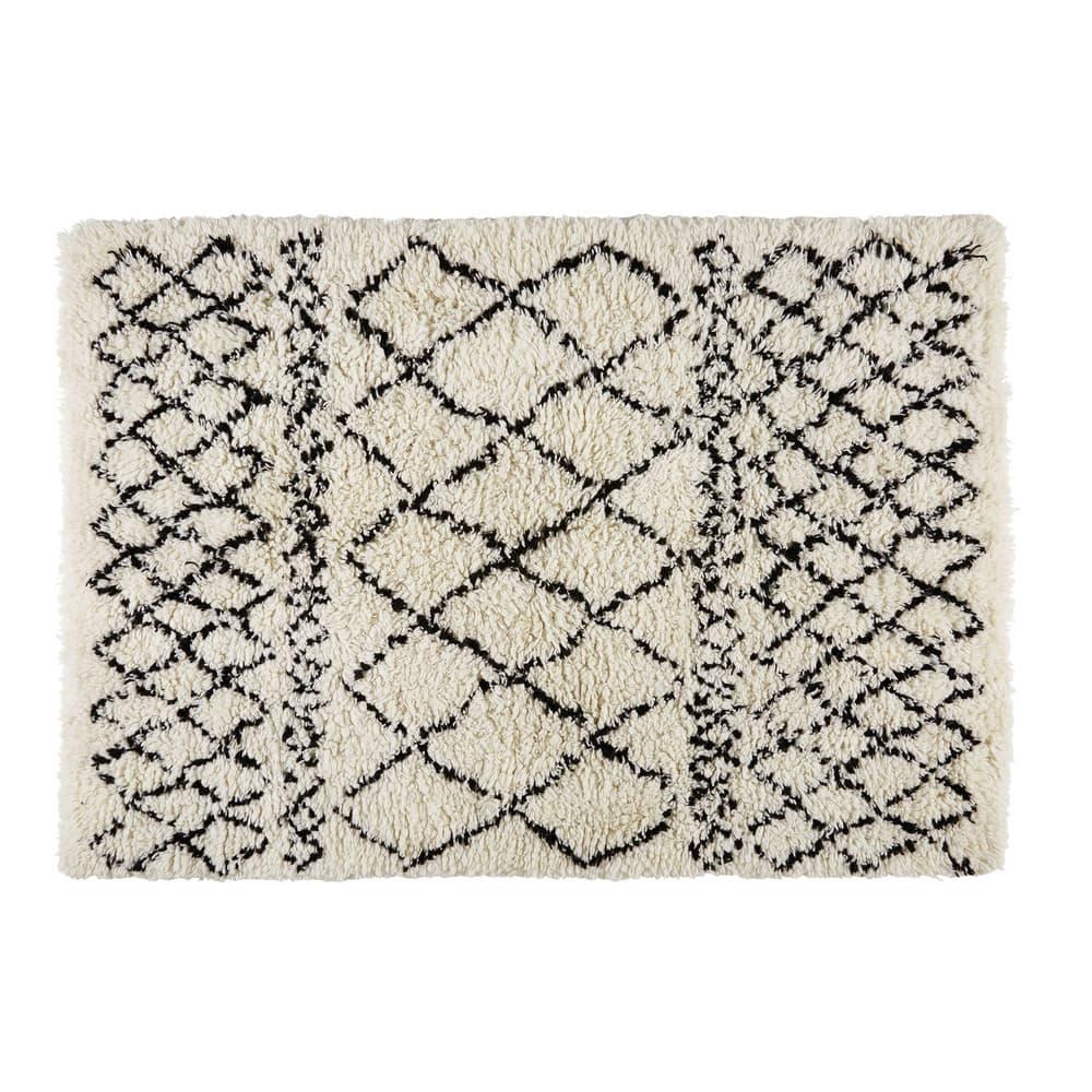 Tapis berbère en laine et coton écru noir 140x200cm Mounia   Maisons ... 453c1d185eb7