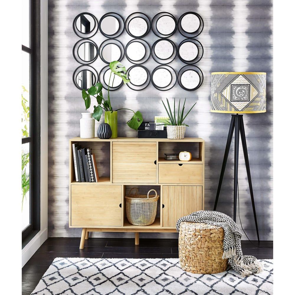 tapis berb re noir et blanc 140x200 jyam maisons du monde. Black Bedroom Furniture Sets. Home Design Ideas