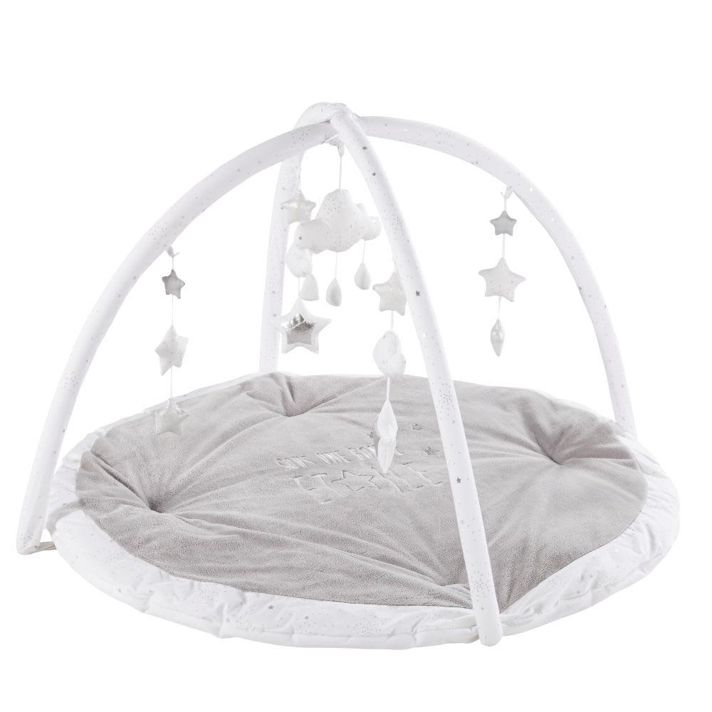 tapis d 39 veil rond gris et blanc d90 celeste maisons du. Black Bedroom Furniture Sets. Home Design Ideas