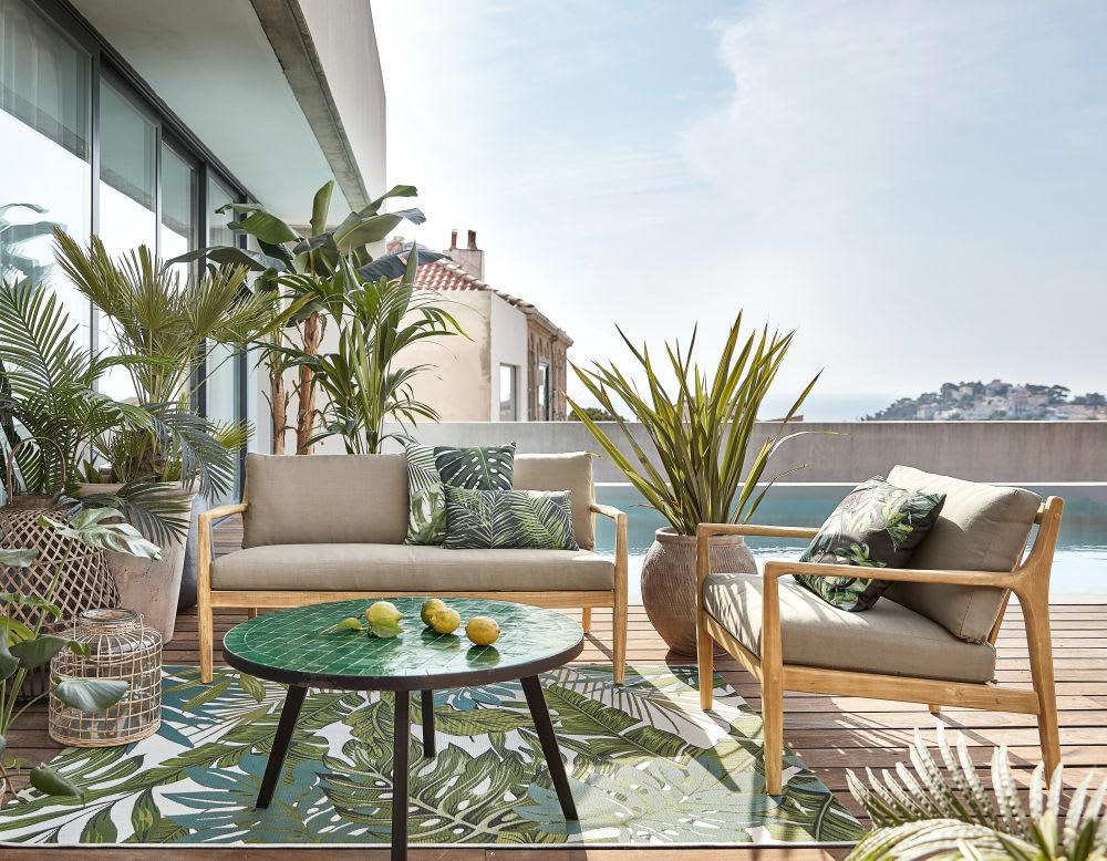 tapis d 39 ext rieur blanc imprim feuillages verts 140x200. Black Bedroom Furniture Sets. Home Design Ideas