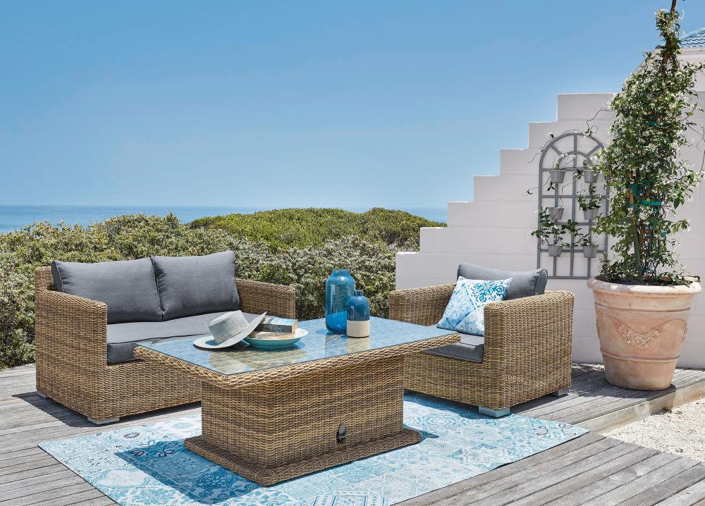 tapis d 39 ext rieur blanc motifs carreaux de ciment bleus. Black Bedroom Furniture Sets. Home Design Ideas