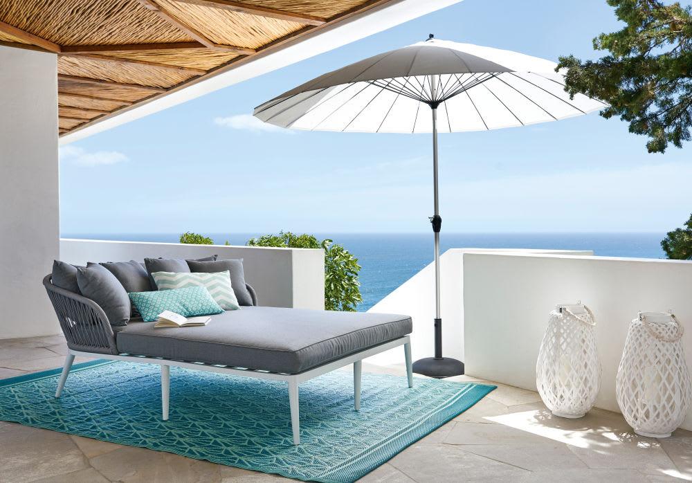 tapis d 39 ext rieur bleu motifs graphiques blancs 150x200. Black Bedroom Furniture Sets. Home Design Ideas