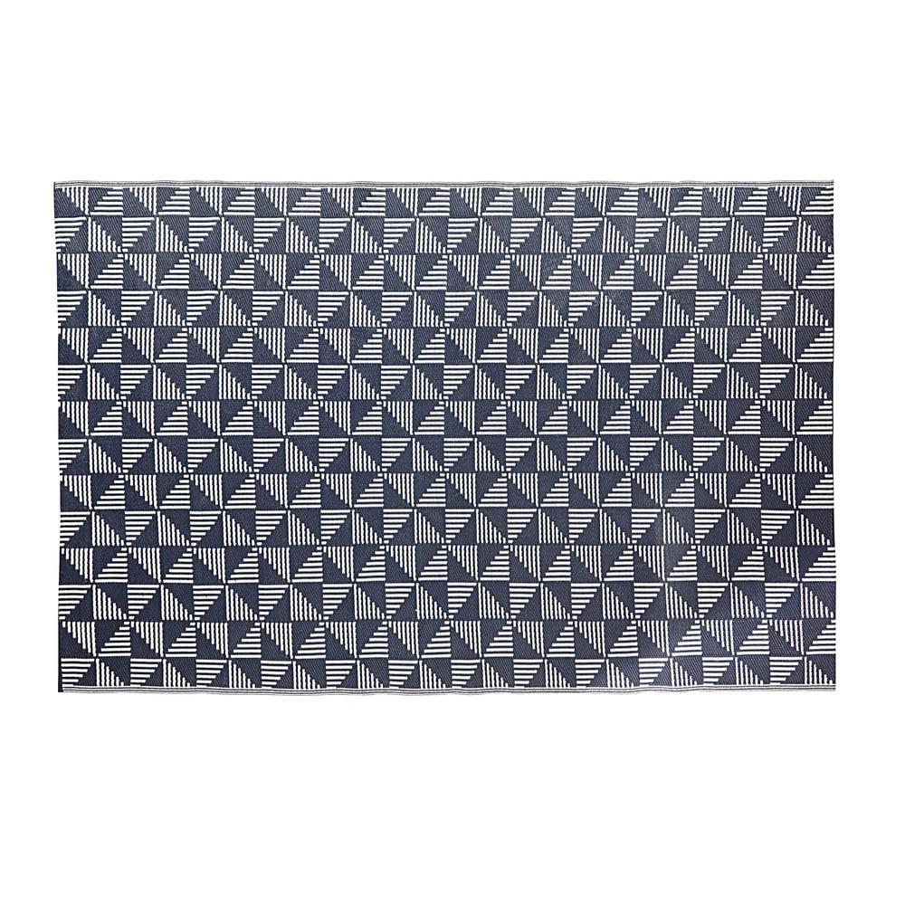 Tapis D Exterieur Bleu Motifs Graphiques Blancs 180x270 Indigo