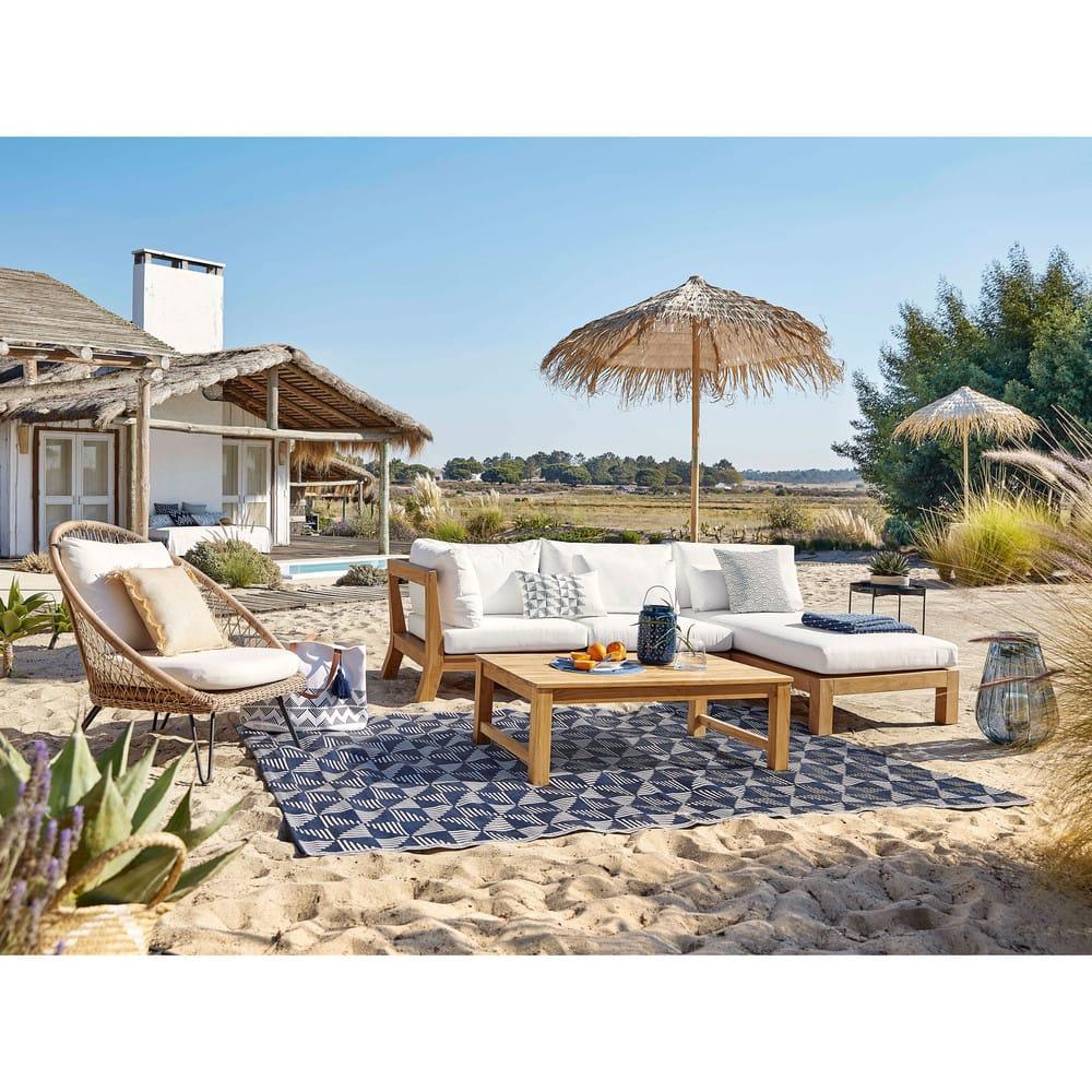 tapis d 39 ext rieur bleu motifs graphiques blancs 180x270. Black Bedroom Furniture Sets. Home Design Ideas