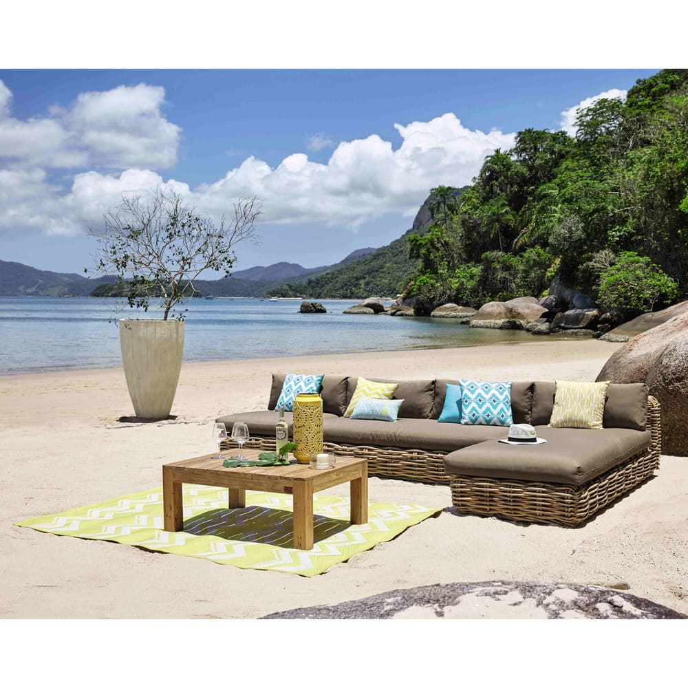 tapis d 39 ext rieur en polypropyl ne jaune 160x230 lataia. Black Bedroom Furniture Sets. Home Design Ideas