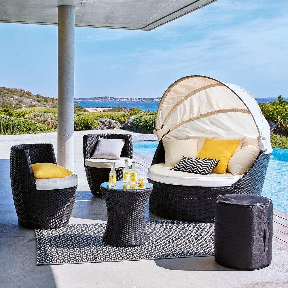 tapis d 39 ext rieur en polypropyl ne noir blanc 120x180. Black Bedroom Furniture Sets. Home Design Ideas