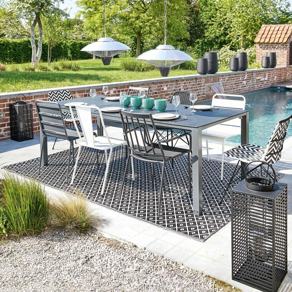 tapis d 39 ext rieur en polypropyl ne noir et blanc 180x270 kamari maisons du monde. Black Bedroom Furniture Sets. Home Design Ideas