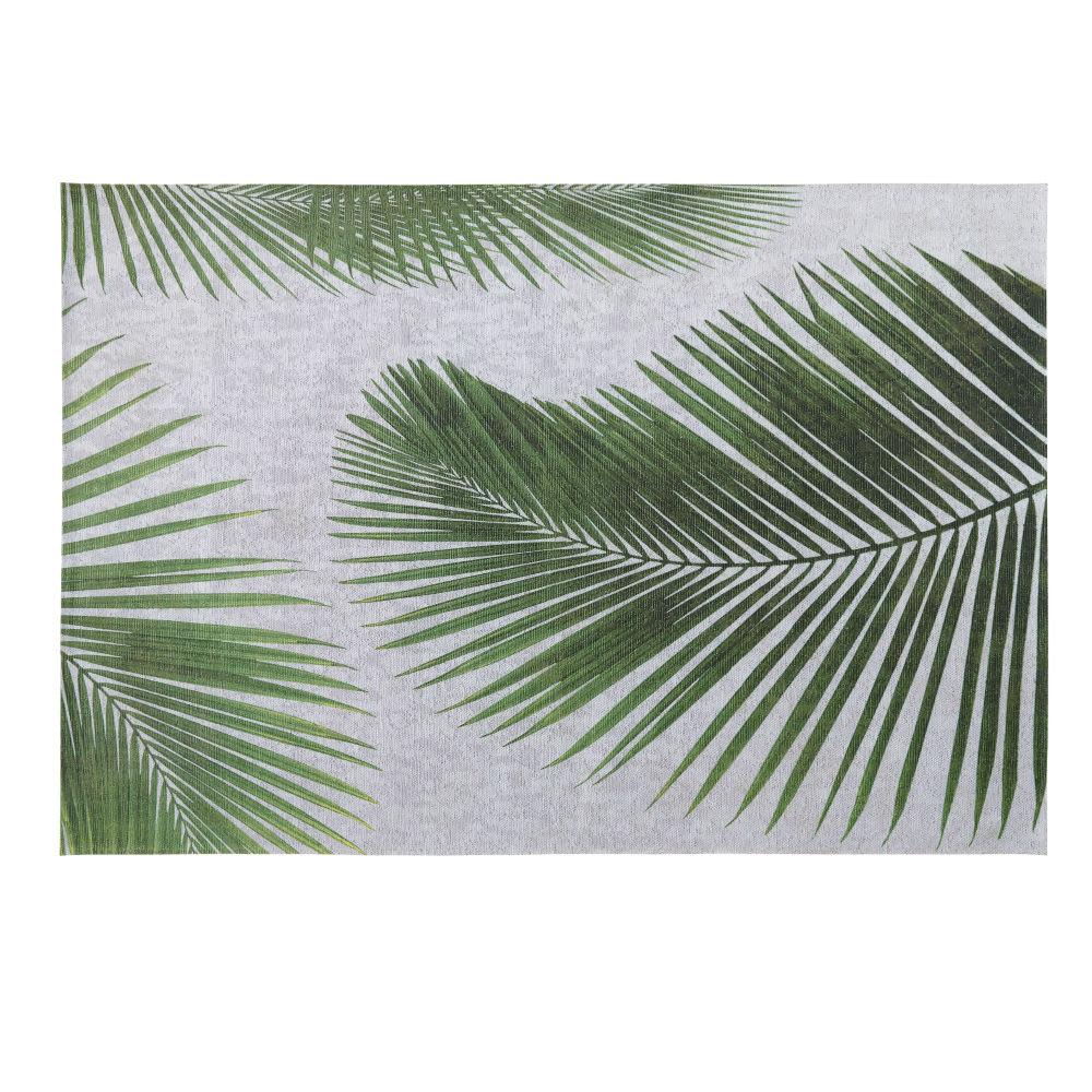 Merveilleux Tapis Du0027extérieur Gris Imprimé Feuilles De Palmier 155x230 Leaf