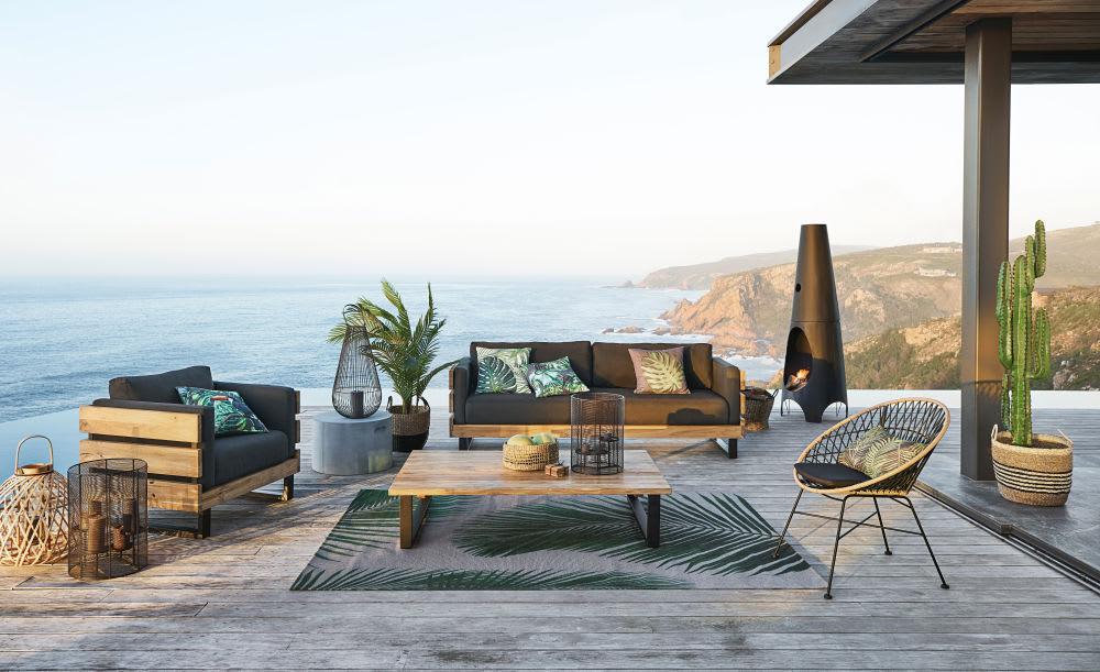 tapis d 39 ext rieur gris imprim feuilles de palmier 155x230. Black Bedroom Furniture Sets. Home Design Ideas
