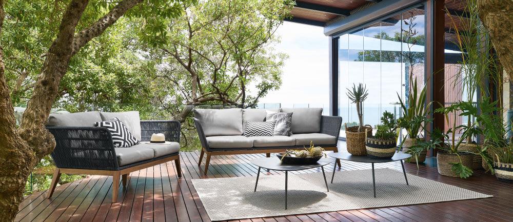 tapis d 39 ext rieur gris tress 200x200 dotty maisons du monde. Black Bedroom Furniture Sets. Home Design Ideas
