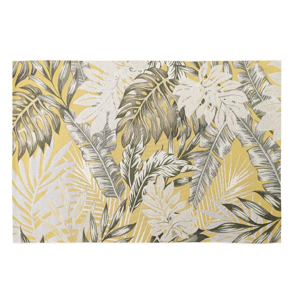 e02265c4e0 Tapis d'extérieur jaune imprimé feuillages 155x230 Amazonie ...