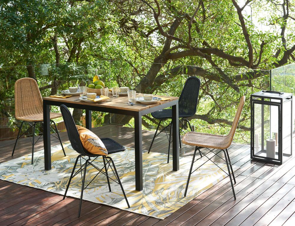 tapis d 39 ext rieur jaune imprim feuillages 155x230. Black Bedroom Furniture Sets. Home Design Ideas