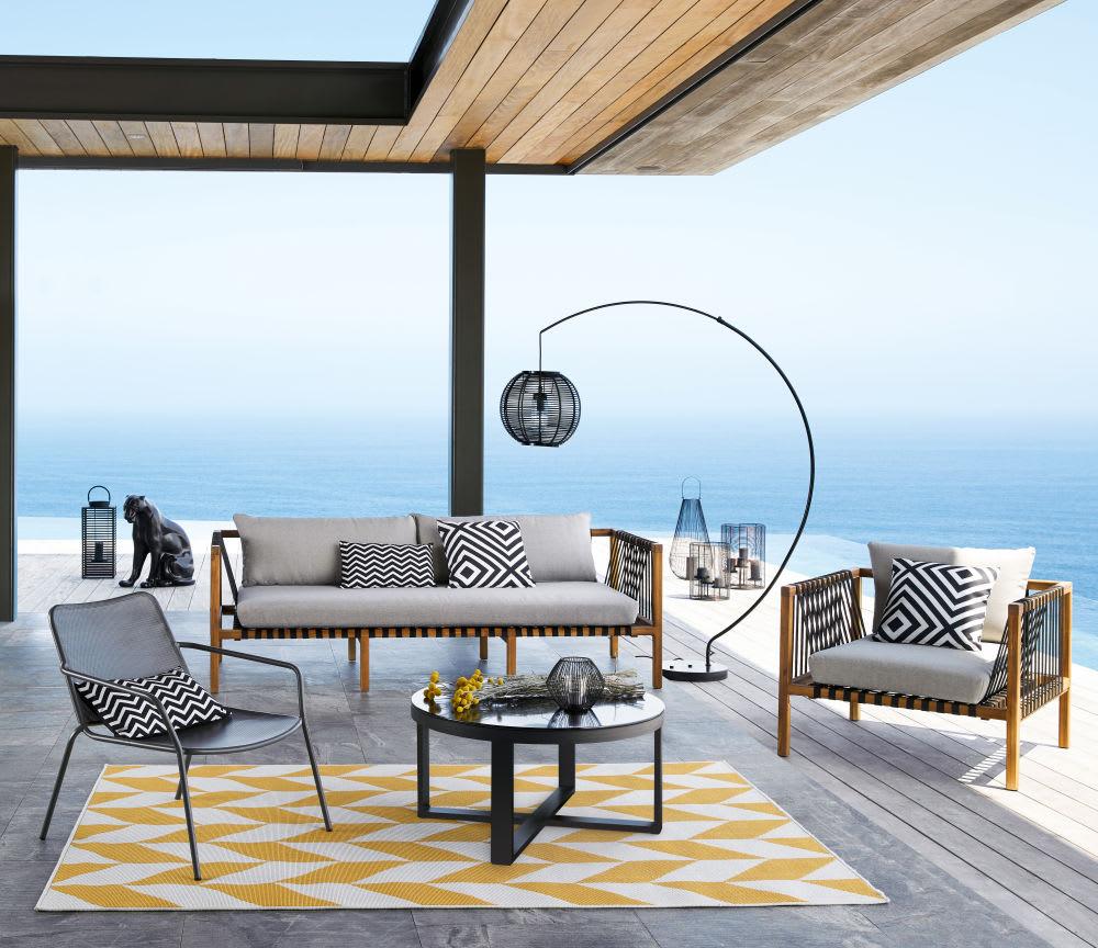 tapis d 39 ext rieur motifs graphiques jaunes et blancs. Black Bedroom Furniture Sets. Home Design Ideas